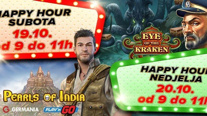 Iskoristi Happy Hour vikend i preuzmi besplatne vrtnje na omiljene online casino igre!
